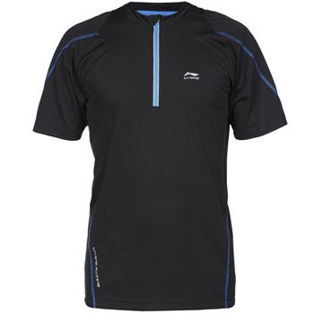 Tshirt respirant 1/2 zip noir bleu