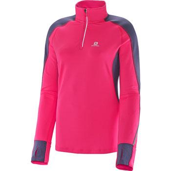 T-Shirt Trail Runner Warm LS Zip rose gris