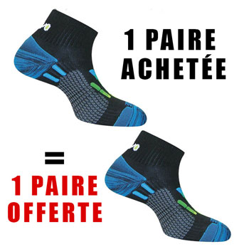 1 PAIRE ACHETEE = 1 OFFERTE Pody Air Run noires bleues
