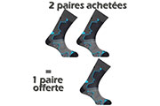 2 PAIRES ACHETEES + 1 OFFERTE Double Trek gris/noir