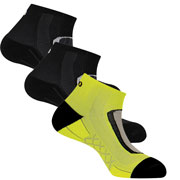Lot 3 paires chaussettes Run Lighty noir jaune
