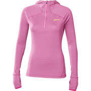 Maillot ML 1/2 zip Hoody rose chiné