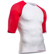 Maillot de compression ON/OFF SS blanc rouge