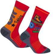Lot de 2 paires de chaussettes Trekking garçon rouges