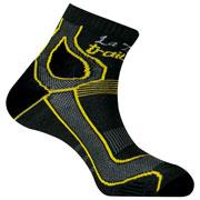 Socquette Trail Double Skin grises jaune